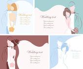Silhueta da noiva e o noivo, o plano de fundo — Vetorial Stock