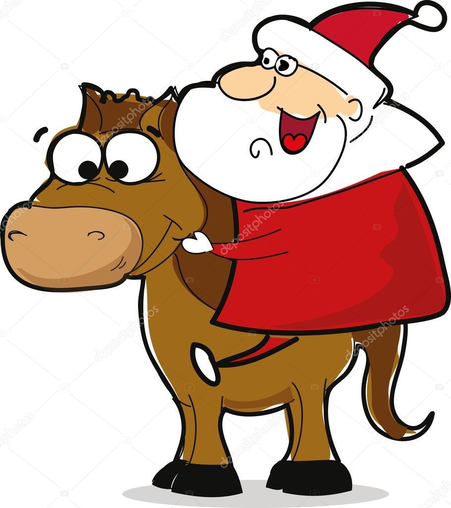 Dr le de p re no l avec cheval image vectorielle virinaflora 41643309 - Dessin anime avec des poneys ...