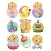 Baby boys, baby girls, toys and nursery accessories — Stock Vector