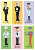 Cartoon characters of different professions — Stock Vector