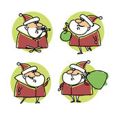 Set of cartoon santa claus — 图库矢量图片