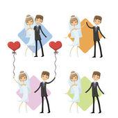 Set of cartoon wedding pictures — Stock Vector