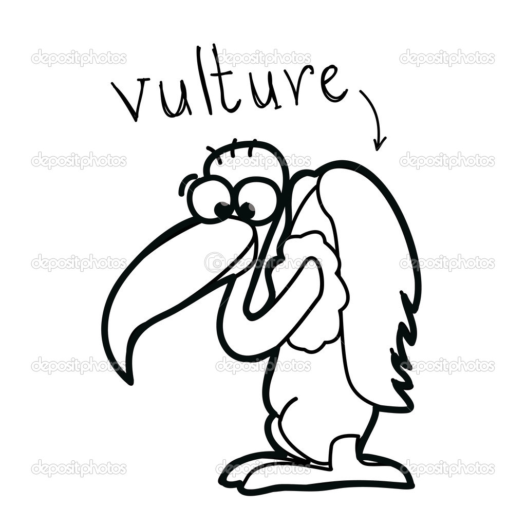 Vulture Line Drawing Cartoon Vulture Drawin...