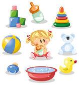 婴儿和幼儿的配件 — 图库矢量图片