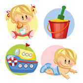 Babys and nursery accessories — Stock Vector