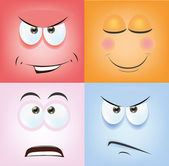 Kreslené obličeje s emocemi — Stock vektor