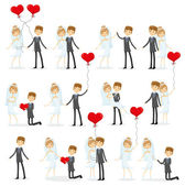 Bride and groom in love — Stock Vector