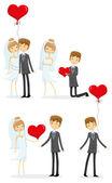 Bride and groom in love — Stock Vector