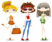 Fashion girls in different country — Stock Vector