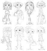Meninas na moda dos desenhos animados — Vetorial Stock