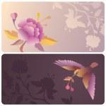 etiket veya afiş ile kuş ve çiçek — Stok fotoğraf