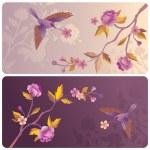 étiquettes ou les bannières avec oiseaux et fleurs — Photo