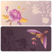 Labels or banners with bird and flower — Stock Photo