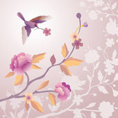 Bird in the morning pale pink flower garden — Stock Photo