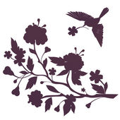Silhouette of bird and flowers on blossom branch — Stock Photo