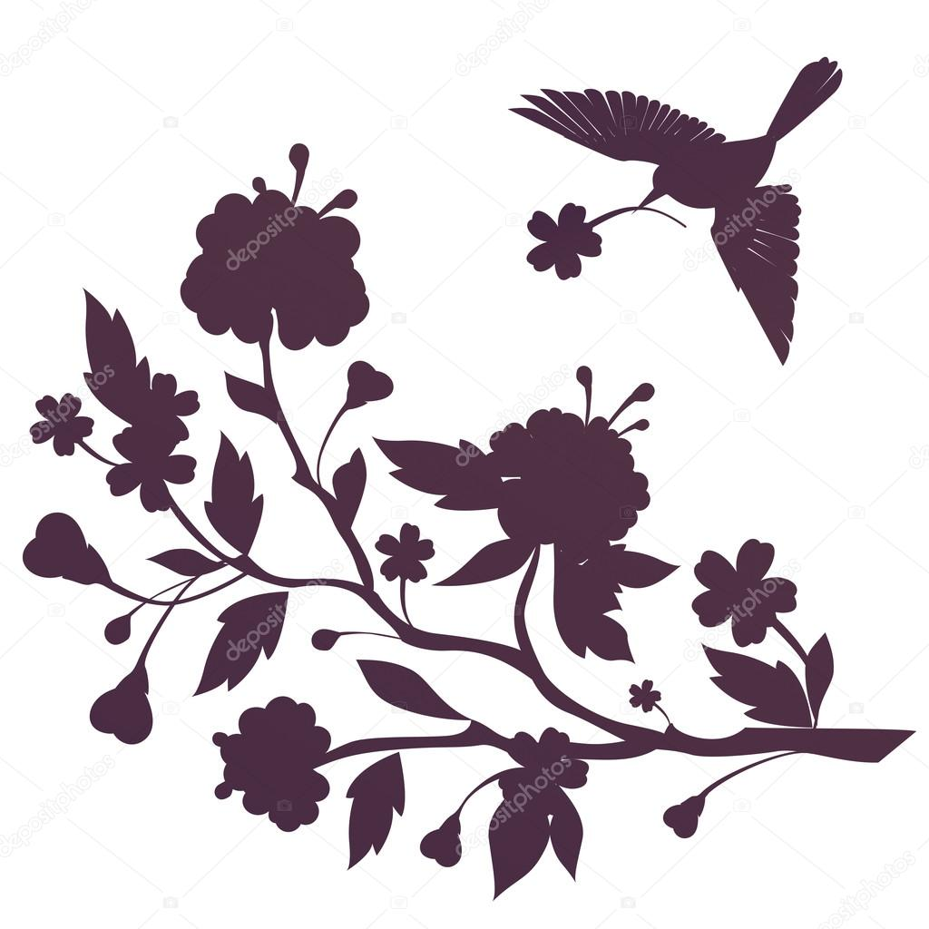 Silhouette of bird and flowers on blossom branch — Stock © wa ka 135