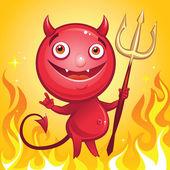 Funny cute cartoon smiling devil — Stock Vector