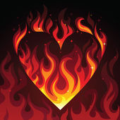 Hot burning heart on fire on dark background — 图库矢量图片
