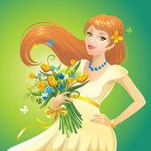 Girl with flowers — Vetor de Stock