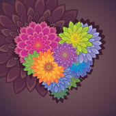 Flower heart valentine card — Stock Vector