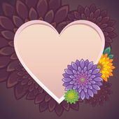 Flowers heart frame valentine card — Stock Vector