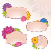 Flower tag labels — Stock Vector