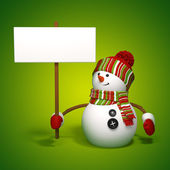 Snowman holding banner — Stock Photo