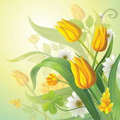 Yellow tulips — Stock Vector