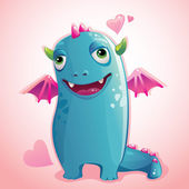 Cute monster in love — Stock Vector