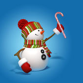 Snowman holding candy cane — Stock Photo