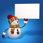 Snowman holding message banner — Stock Photo