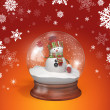 Snowman inside glass ball — Photo