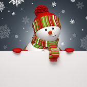 Snowman holding message banner. Christmas greeting — Stock Photo