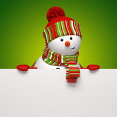 Snowman banner. Christmas greeting — 图库照片