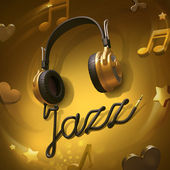 Headphones jazz music mix — Stock Photo