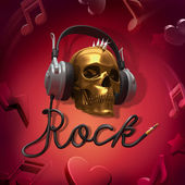 Scull headphones rock music — Stock Photo