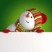 Snögubbe banner. jul hälsning — Stockfoto