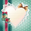 Christmas heart banner - Stock Vector