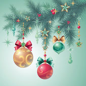 Kerstboom decoraties — Stockvector