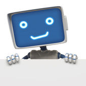 Robot blank banner — Stock Photo
