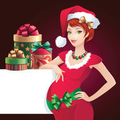 Christmas pregnant beauty greeting banner — Stock Vector