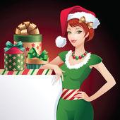 Christmas Santa beauty greeting banner — Stock Vector