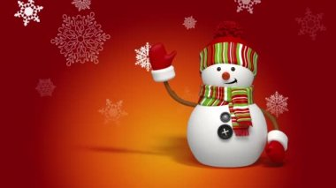 Christmas snowman greeting background — Stock Video #15769045