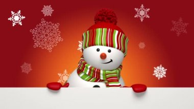 Christmas snowman greeting banner — Stock Video #15769275