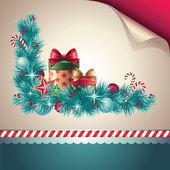 Vintage Christmasred corner decoration set. Page curl — Stock Vector