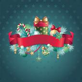 старинные рождественские ленты лейбл баннер — Cтоковый вектор