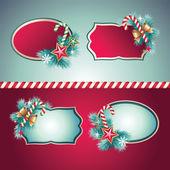 复古圣诞节横幅设置 — 图库矢量图片