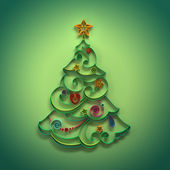 Paper quilling Christmas tree decoration greeting — Stock Photo