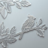 White decorative paper quilling bird greeting card — Stock Photo