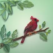 Czerwony papier, quilling tle ozdoba ptak — Zdjęcie stockowe